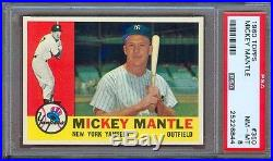 1960 Topps #350 Mickey Mantle Yankees Psa 8