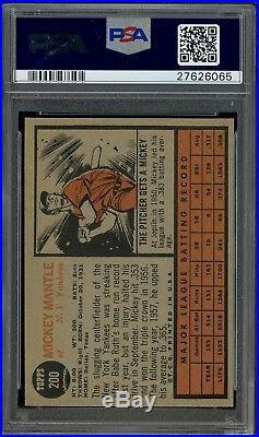 1962 Topps #200 Mickey Mantle New York Yankees HOF PSA 8 TOUGH CARD