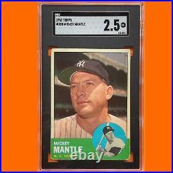 1963 Topps #200 Mickey Mantle SGC 2.5 New York Yankees Legendary Card