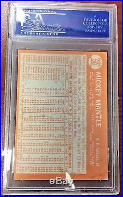 1964 Topps Mickey Mantle #50 PSA/DNA Auto Autograph