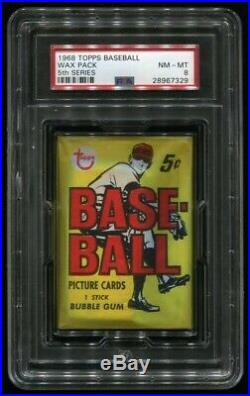 1968 Topps 5th Series 5 Cent Wax Pack. PSA 8