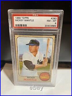 1968 Topps Mickey Mantle New York Yankees #280 Baseball Card PSA Graded 8
