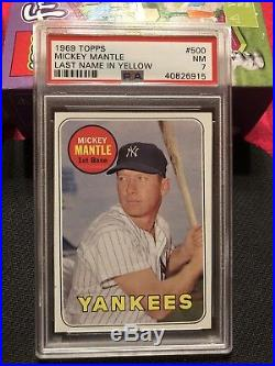 1969 TOPPS MICKEY MANTLE #500 LAST NAME IN YELLOW PSA 7 NM YANKEES New Label
