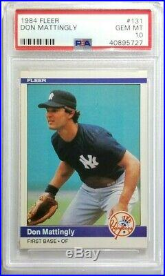 1984 Fleer Don Mattingly RC PSA 10 GEM MINT NY Yankees ROOKIE Card #131