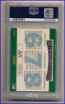 1992 SCORE MICKEY MANTLE YASTRZEMSKI MUSIAL Triple Gold Ink Auto PSA/DNA 10
