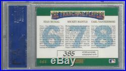 1992 Score Franchies Stan Musial Mickey Mantle Carl Yastrzemski Auto PSA 7