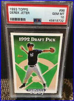 1993 Topps Baseball # 98 DEREK JETER Rookie RC Gem Mint PSA 10 Yankees Hof NICE
