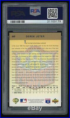 1993 Upper Deck 449 GOLD HOLOGRAM Derek Jeter ROOKIE RC PSA 10 GEM MINT HOF 2020