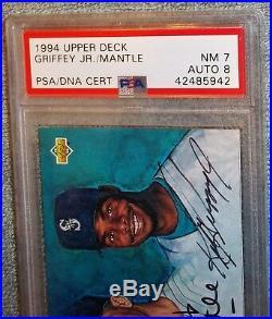 1994 Upper Deck Mickey Mantle Ken Griffey Jr. Dual Graded PSA 7 Autograph PSA 8