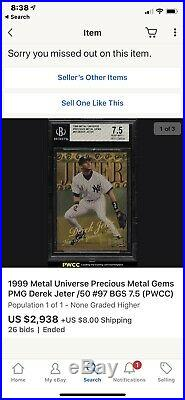 1999 Metal Universe Precious Metal Gems PMG Derek Jeter /50 #97 BGS 8 (PWCC)
