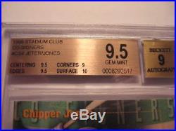1999 Stadium Club Derek Jeter/chipper Jones Co-signers Dual Auto Bgs 9.5