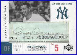 2001 UD Upper Deck Legends of New York NY Joe DiMaggio Cut Signature Auto Yankee
