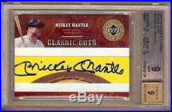 2005 Upper Deck Classics Mickey Mantle Cut Auto 1/1 Bgs 9/9