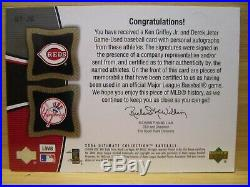 2006 Ultimate Tandem Ken Griffey Jr/ Derek Jeter Auto/Jersey Pinstripes #4/15