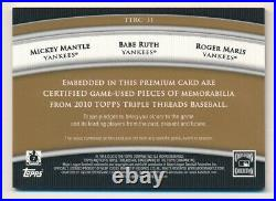 2010 Triple Threads MICKEY MANTLE MARIS BABE RUTH Triple Game Relic #/27