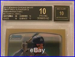 2013 AARON JUDGE Bowman Chrome Refractor GOLD /50 Auto BGS Black Label Pristine