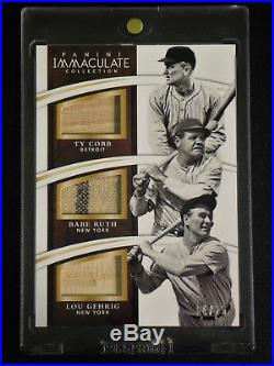 2015 Panini Immaculate Ty Cobb/Babe Ruth/Lou Gehrig Game-Used Card #4/25 Nice