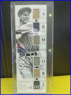2016 National Treasures LOU GEHRIG 6X Game Used Relic Booklet ARMORY # 7/25