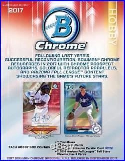 2017 Bowman Chrome Baseball Hobby Box Factory Sealed 12 Packs 2 Autos