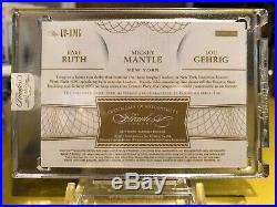 2017 Flawless Legendary Trio Relics Babe Ruth Mickey Mantle Lou Gehrig 09/15