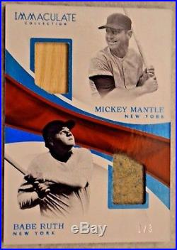 2017 Immaculate BABE RUTH & MICKEY MANTLE Game Used Jersey & Bat #1/3 SAPPHIRE