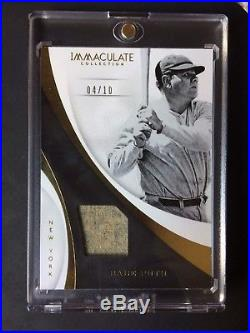 2017 Immaculate New York Yankees Babe Ruth RARE Jersey Patch Card! #4/10