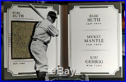 2017 National Treasures Triple Player Materials 2/3 Ruth, Mantle, Gehrig