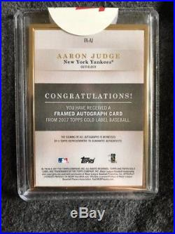2017 Topps Gold Label AARON JUDGE RC GOLD FRAME AUTO FA-AJ HOT! Yankees