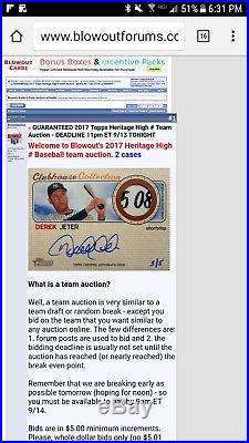 2017 Topps Heritage High Number Derek Jeter Clubhouse Prime Relic Auto SSP /5