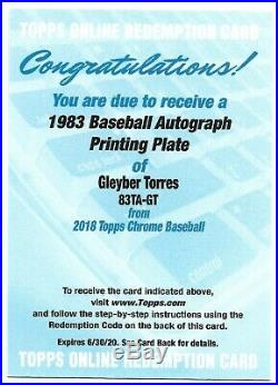2018 Gleyber Torres Yankees RC Topps Chrome Printing Plate Auto Redemption 1/1