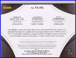 2018 Immaculate Triple Auto Ronald Acuna Jr Gleyber Torres Eloy Jimenez #/25