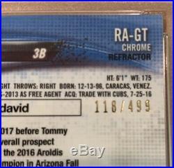 2018 Topps Chrome Gleyber Torres Yankees Rookie Auto Ref/499 PSA 10