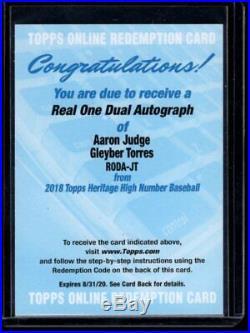2018 Topps Heritage Aaron Judge Gleyber Torres Real One Dual Auto 22/25 Yankees