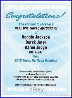 2018 Topps Heritage Real One Auto Reggie Jackson Derek Jeter Aaron Judge