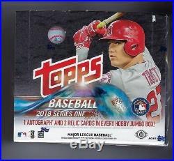 2018 Topps Series 1 Baseball Factory Sealed Jumbo Hta Box & 2 Silver Pack