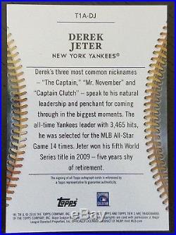 2018 Topps Tier One Auto GOLD Derek Jeter Autograph #'d 1/1 New York Yankees