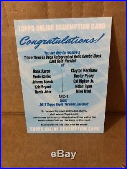 2018 Topps Triple Threads DECA book Auto relic TROUT AARON JETER BRYANT RIPKEN +
