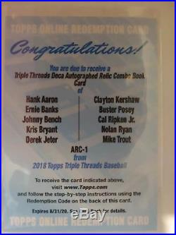 2018 Topps Triple Threads Deca Auto Relic Book AARON BENCH JETER RYAN TROUT ARC1