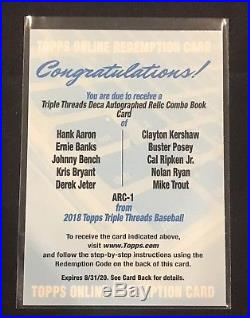 2018 Topps Triple Threads Deca Auto Relic Book Aaron Bryant Jeter Ryan Trout