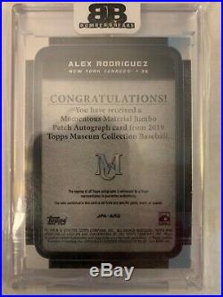 2019 Topps Museum Alex Rodriguez Auto Patch 14/15 Yankees Momentous Materials