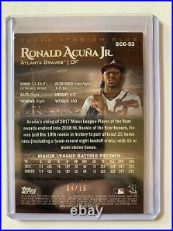 2019 Topps Stadium Club Ronald Acuna JR Auto /10! Beautiful Card