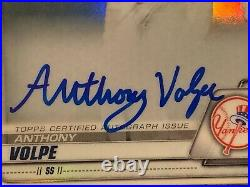 2020 1st Bowman Chrome Yellow Refractor Anthony Volpe Auto Rookie Card RC 53/75