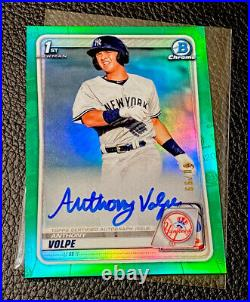 2020 Bowman Chrome Anthony Volpe Auto #/99 Green Refractor 1st Bowman Yankees RC