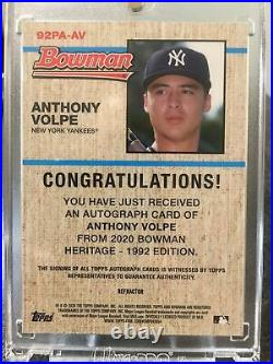 2020 Bowman Chrome Heritage Anthony Volpe REFRACTOR RC Auto 40/99 YANKEES