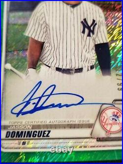 2020 Bowman Chrome Jasson Dominguez 1st Auto Green Shimmer #'d 12/99 Ny Yankees
