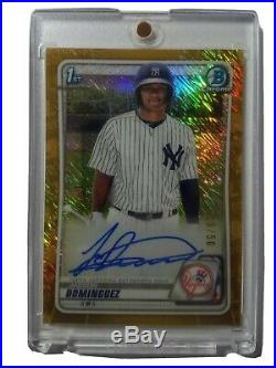 2020 Bowman Chrome Jasson Dominguez Gold Shimmer Auto #'d/50 New York Yankees