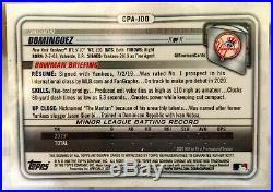 2020 Bowman Chrome Jasson Dominguez Green Refractor Auto /99 Yankees CPA-JDO