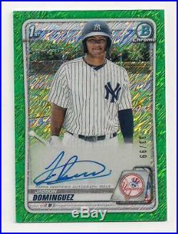 2020 Bowman Chrome Jasson Dominguez Green Shimmer autograph #33/99! Yankees AUTO