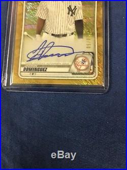2020 Bowman Chrome Jasson Jason Dominguez Gold Shimmer Auto #10/50 Yankees Mint
