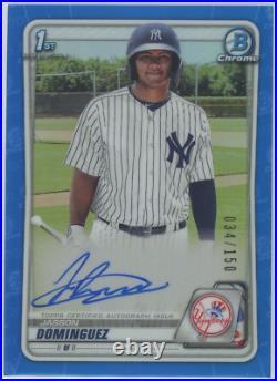 2020 Bowman Chrome Prospect Auto Blue Refractor Jasson Dominguez Yankees 034/150